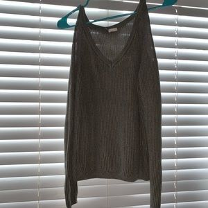 Open shoulder gray sweater